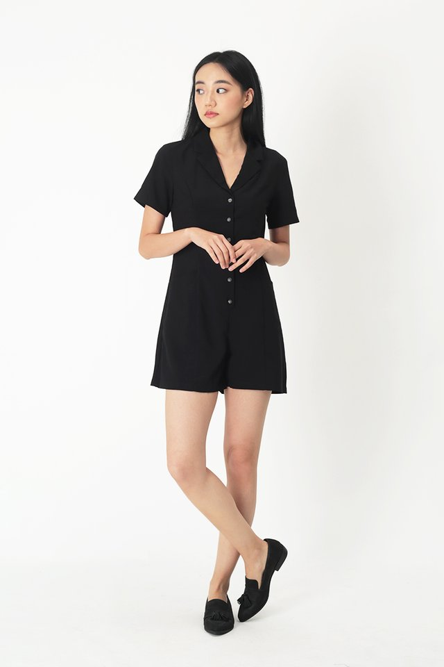 CLAIRE BUTTON ROMPER IN BLACK