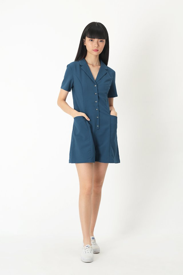 CLAIRE BUTTON ROMPER IN OASIS BLUE