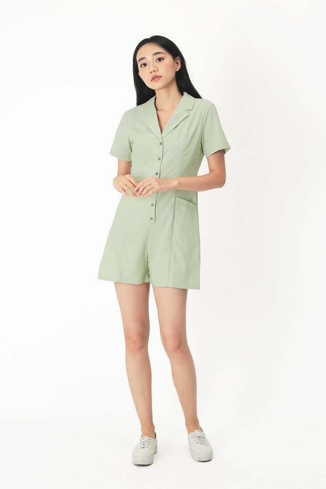 CLAIRE BUTTON ROMPER IN SAGE
