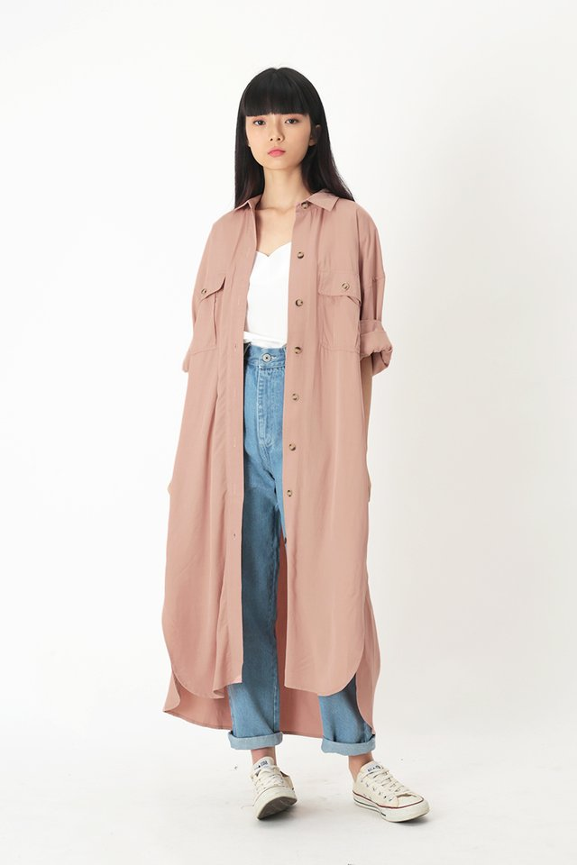 ETHAN OVERSIZED SHIRT DRESS IN FRENCH PINK