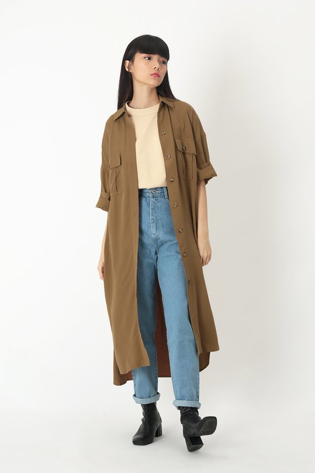 ETHAN OVERSIZED SHIRT DRESS IN CARAMEL