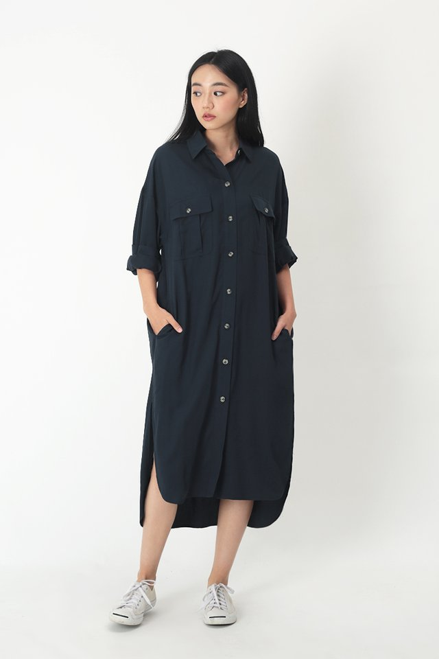 ETHAN OVERSIZED SHIRT DRESS IN NAVY