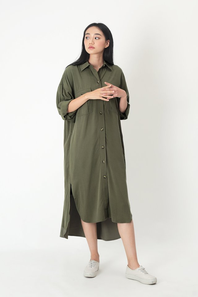 ETHAN OVERSIZED SHIRT DRESS IN VINEYARD GREEN
