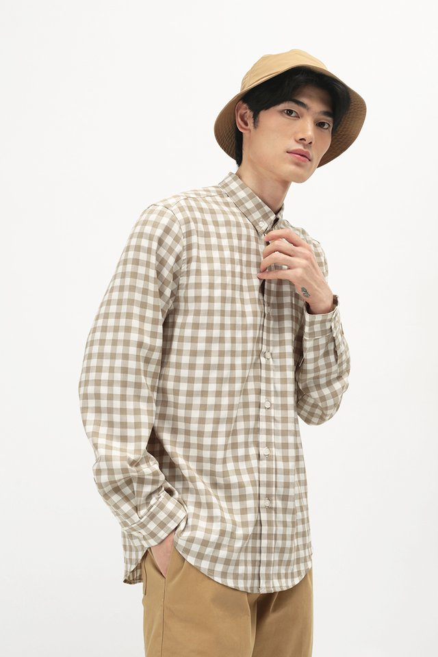 FELIX LONG SLEEVE GINGHAM SHIRT IN BISCOTTI