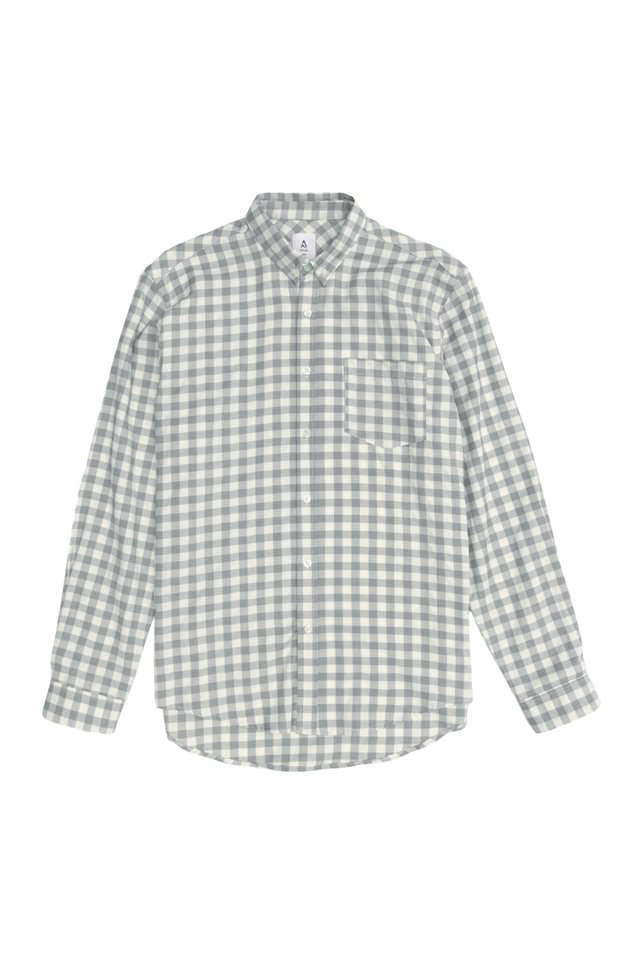 FELIX LONG SLEEVE GINGHAM SHIRT IN GREY