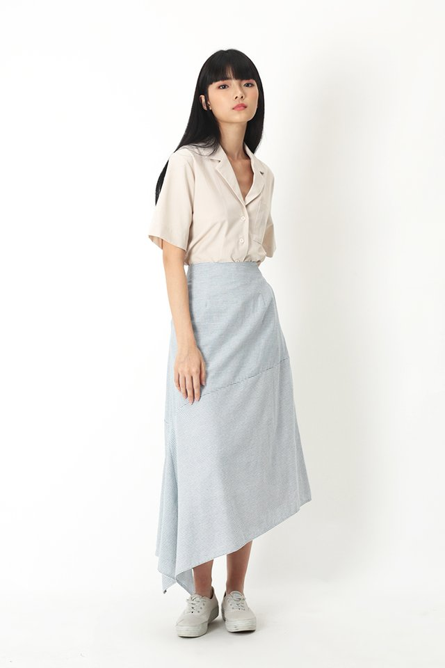 FLORENCE STRIPE MIDI SKIRT IN BLUE