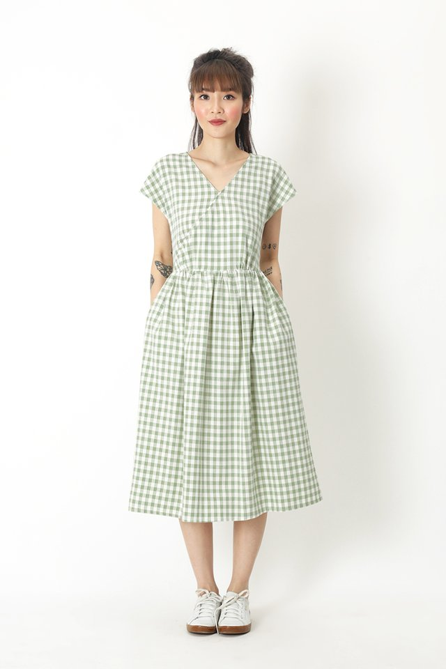 JANELLA GINGHAM DRESS IN MELON