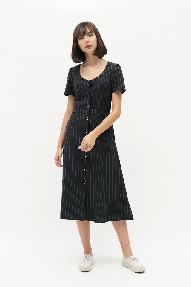 JOSEPHINE STRIPE BUTTON DRESS IN DARK NAVY