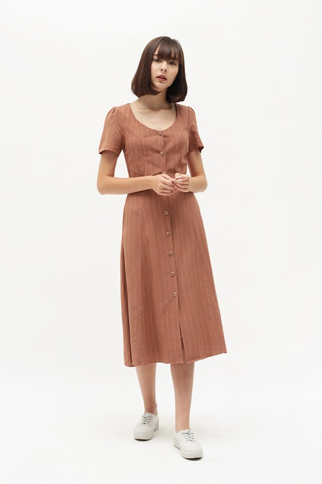 JOSEPHINE STRIPE BUTTON DRESS IN ROSEWOOD