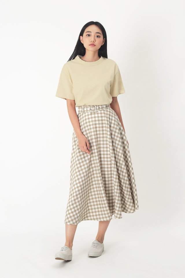 LAUREN GINGHAM SKIRT IN BISCOTTI