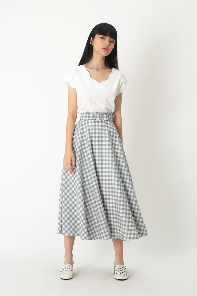 LAUREN GINGHAM SKIRT IN GREY