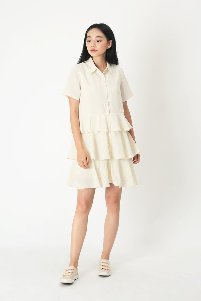 MAYBEL BABYDOLL SHIRT DRESS IN CREAM