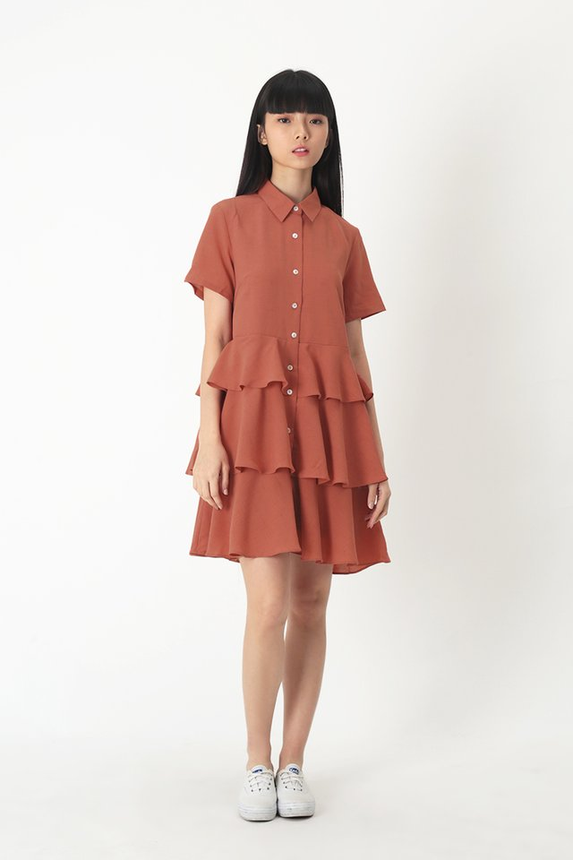 MAYBEL BABYDOLL SHIRT DRESS IN ROSEWOOD