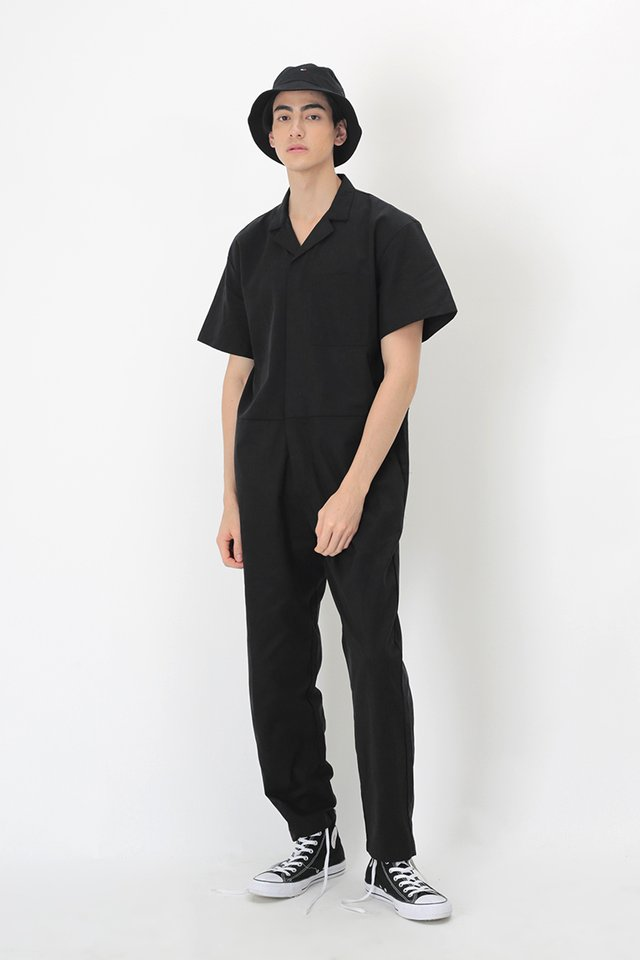 NIXON SHORT SLEEVE BOILERSUIT IN BLACK