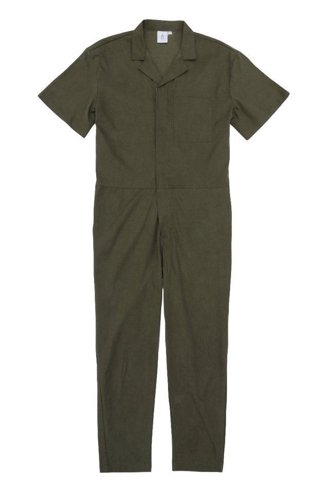 NIXON SHORT SLEEVE BOILERSUIT IN OLIVE