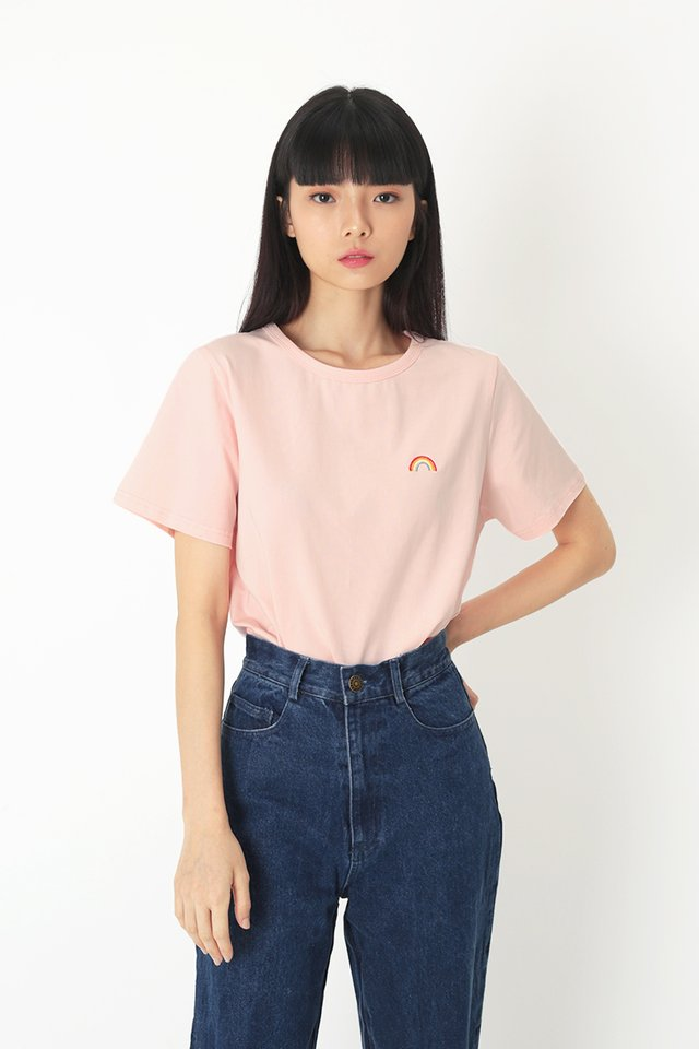OVER THE RAINBOW TEE IN PINK