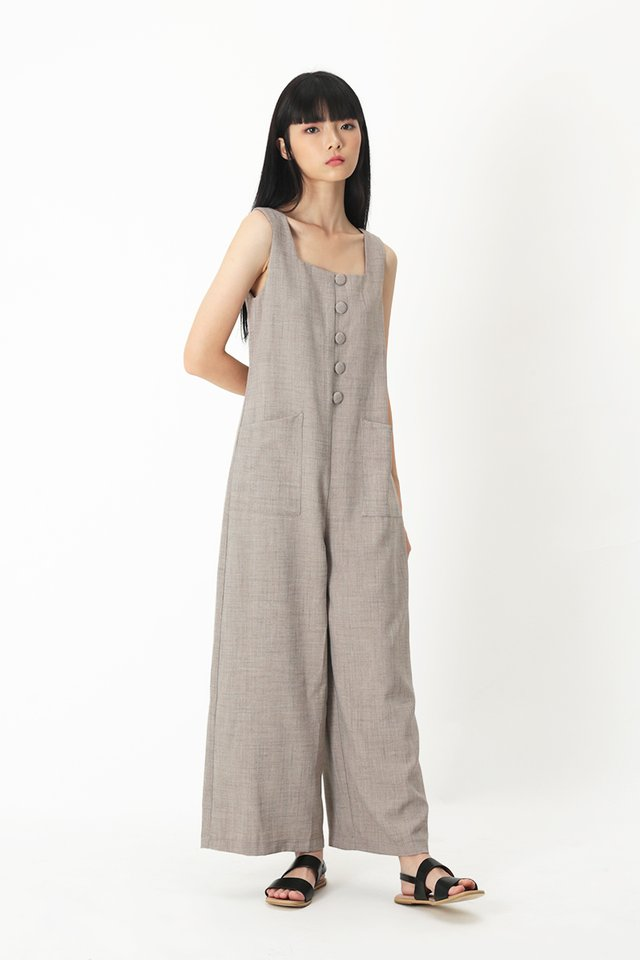 SURI BUTTON JUMPSUIT IN COCOA
