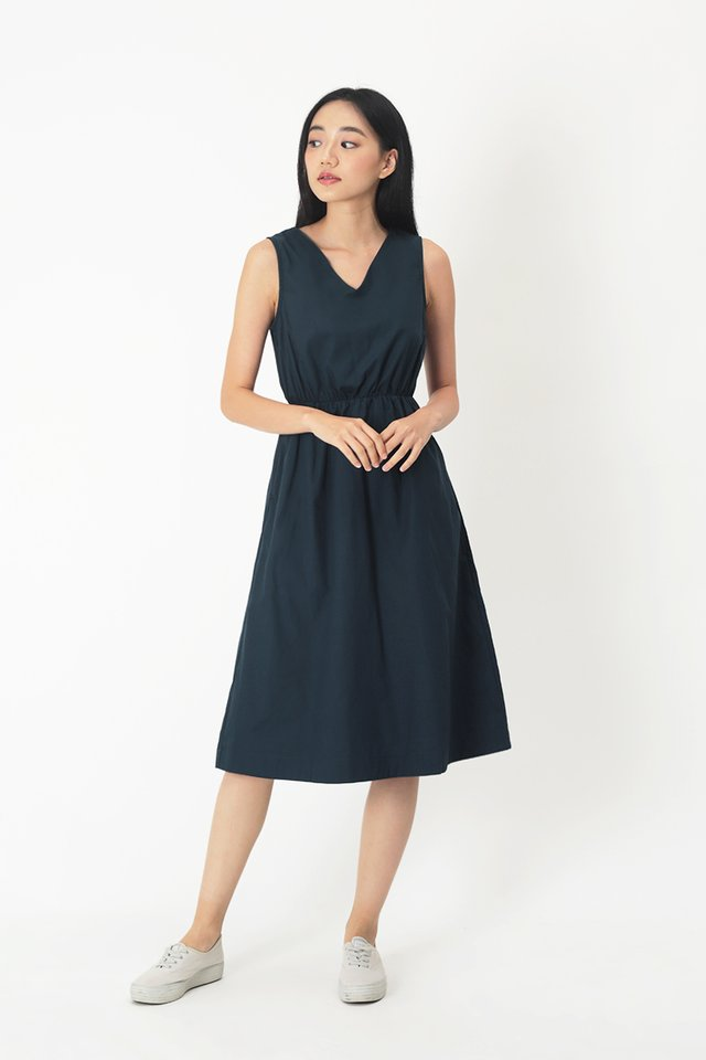 TALIE V-NECK MIDI DRESS IN NAVY