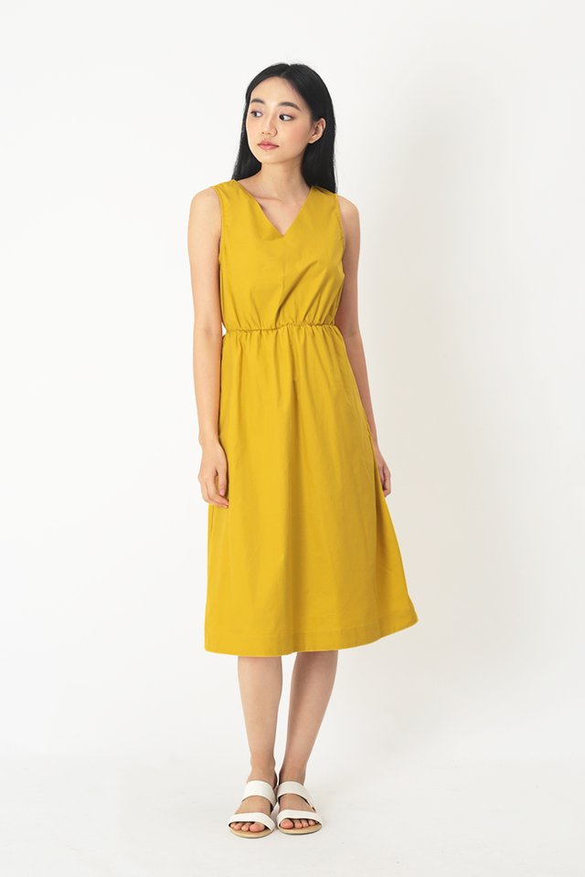 TALIE V-NECK MIDI DRESS IN SUNSHINE