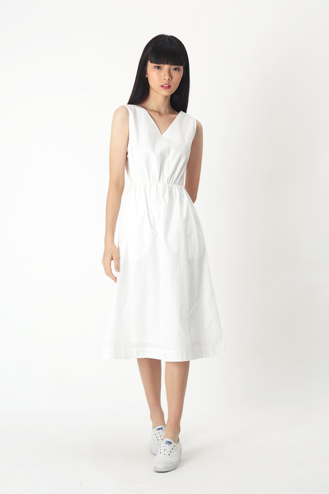 TALIE V-NECK MIDI DRESS IN WHITE