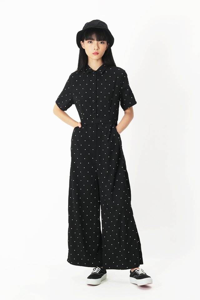 ERIKA POLKADOT JUMPSUIT IN BLACK
