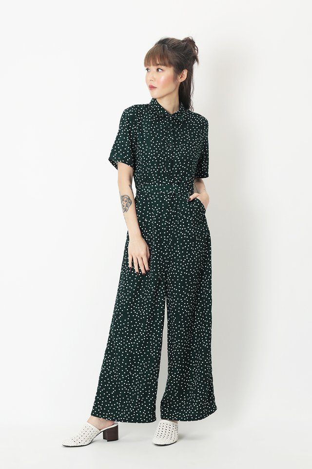 ERIKA POLKADOT JUMPSUIT IN FOREST
