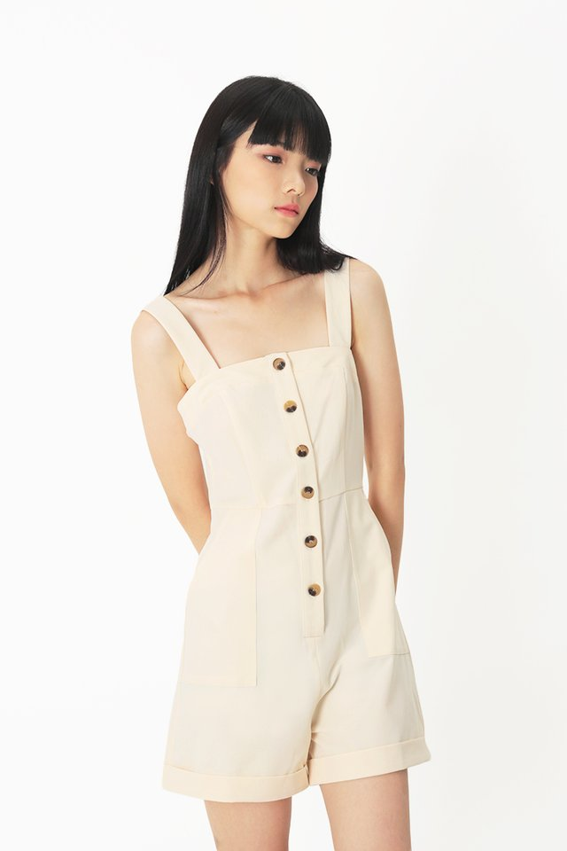 FELICITY BUTTON ROMPER IN CREAM