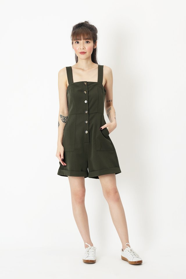 FELICITY BUTTON ROMPER IN VINEYARD GREEN