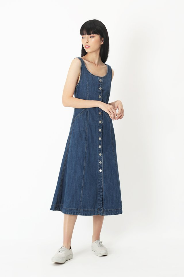 GEANNA DENIM DRESS IN DARK WASH