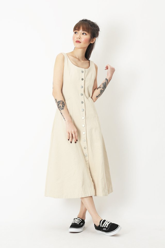 GEANNA DENIM DRESS IN ECRU