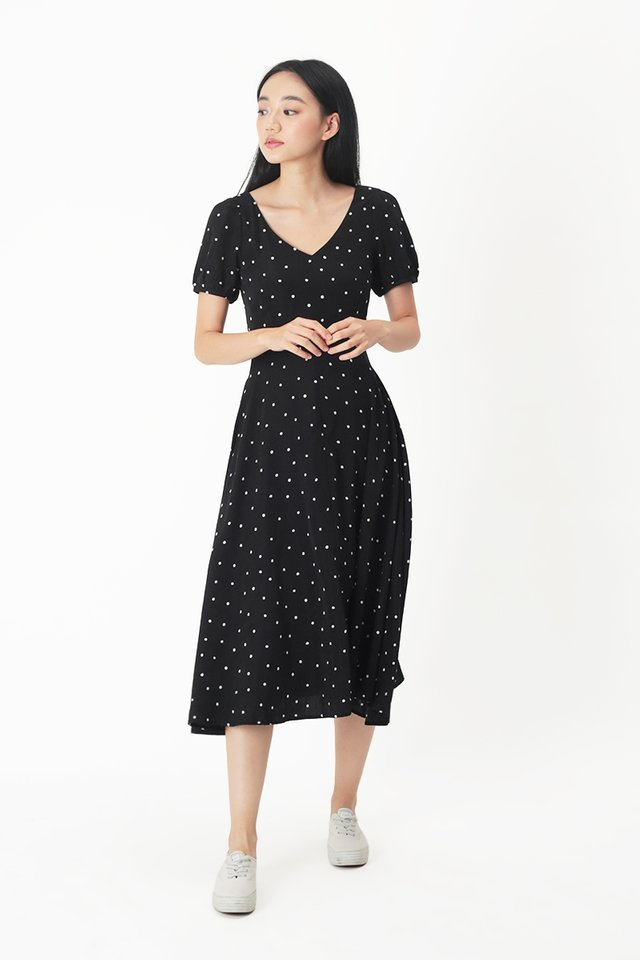 HARPER POLKADOT MIDI DRESS IN BLACK