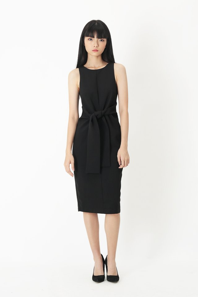ROSABELLE MIDI DRESS IN BLACK