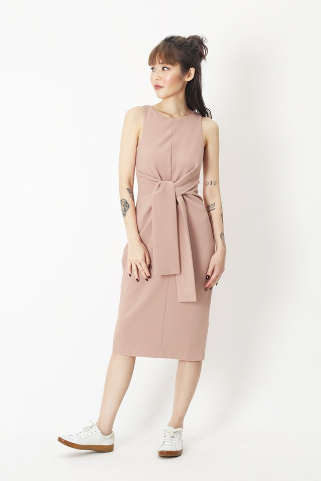 ROSABELLE MIDI DRESS IN FRENCH PINK