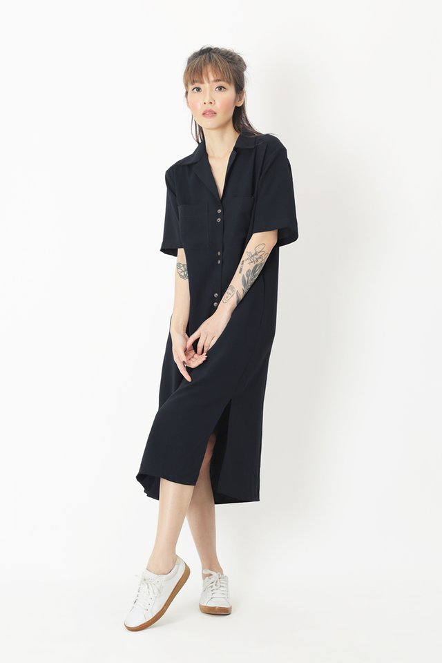 SHAYA CAMP COLLAR SHIRT DRESS IN NAVY