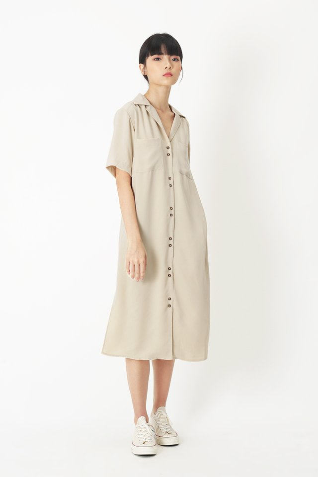 SHAYA CAMP COLLAR SHIRT DRESS IN VANILLA