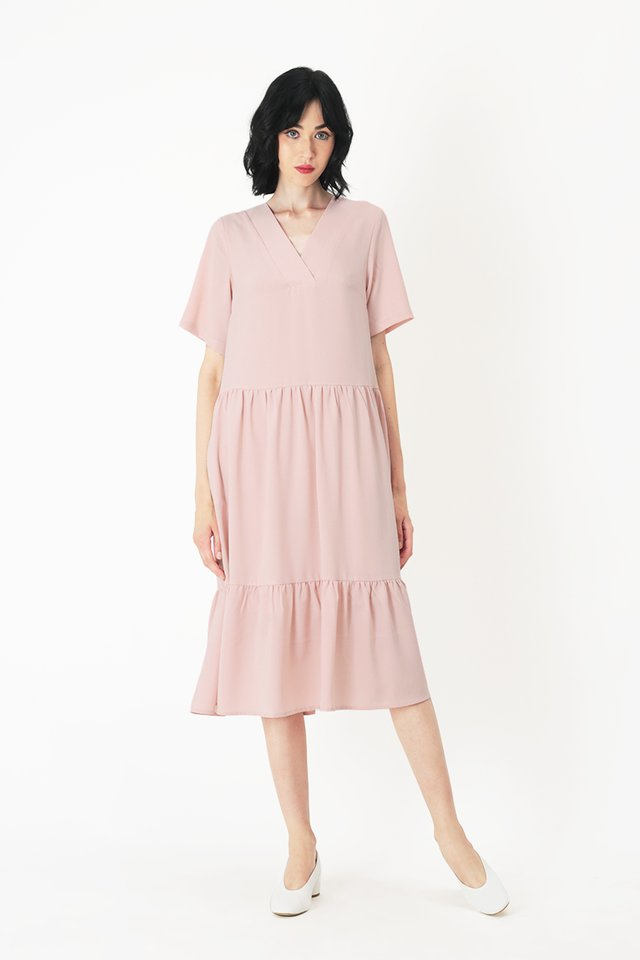 VERONICA V-NECK TIER DRESS IN FRENCH PINK