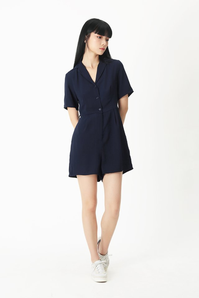 ADELE CAMP COLLAR ROMPER IN NAVY