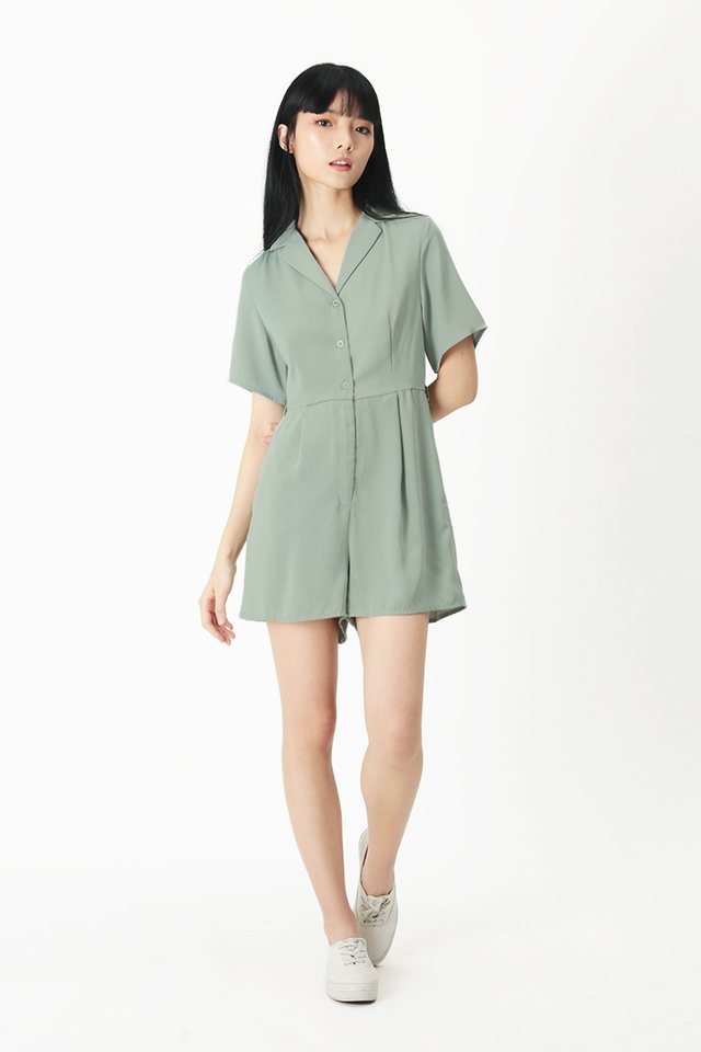 ADELE CAMP COLLAR ROMPER IN FROST GREEN