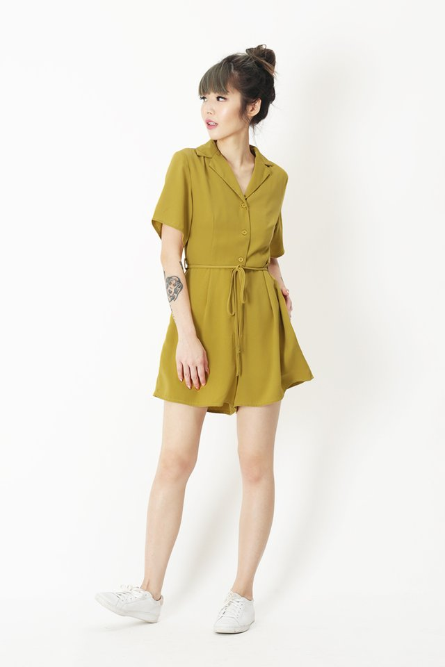 ADELE CAMP COLLAR ROMPER IN OCHRE