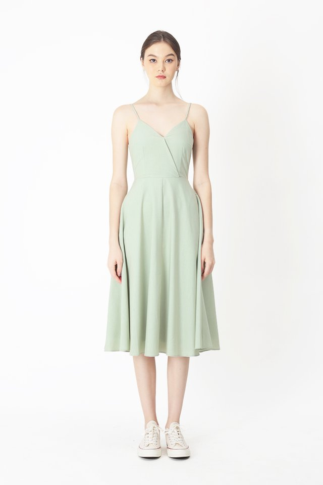 DELANEY V-NECK MIDI DRESS IN MELON