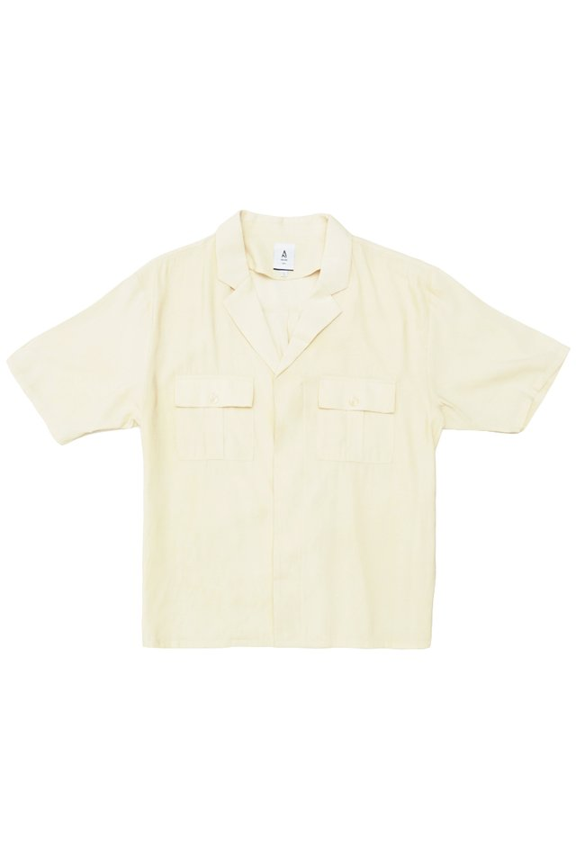 DREW CAMP COLLAR SAFARI SHIRT IN CREAM