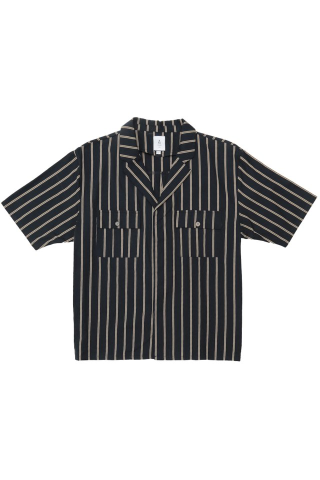 DREW CAMP COLLAR STRIPED SHIRT IN NAVY