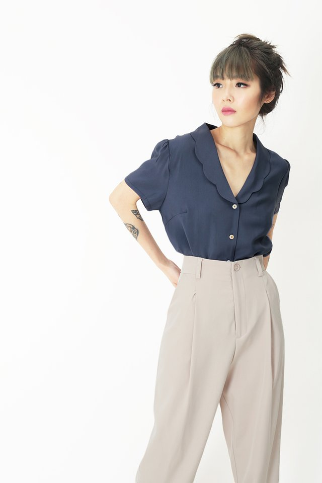 EUGENIA SCALLOP BLOUSE IN OASIS BLUE
