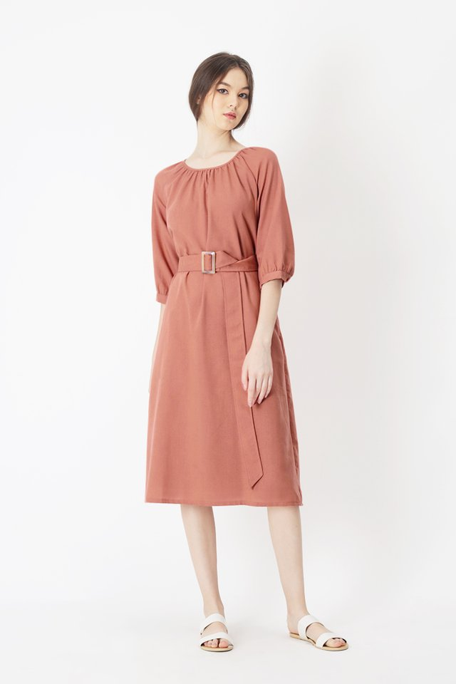 FABIENNE BELTED DRESS IN DESERT ROSE