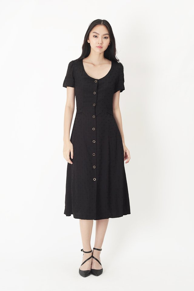 JOSEPHINE POLKADOT BUTTON DRESS IN BLACK