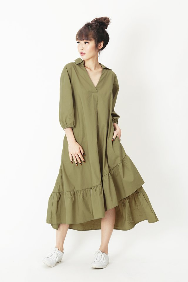 MARLEY ASYMMETRICAL MIDI DRESS IN FRENCH OLIVE