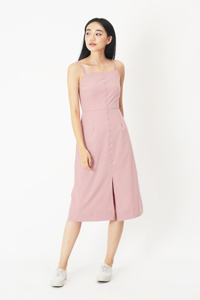 MAUREEN MIDI DRESS IN FRENCH PINK