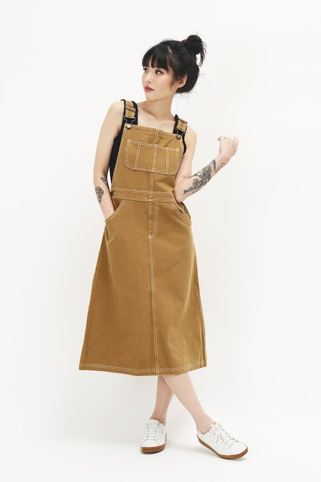 MIKAYLA DENIM DUNGAREE IN CARAMEL