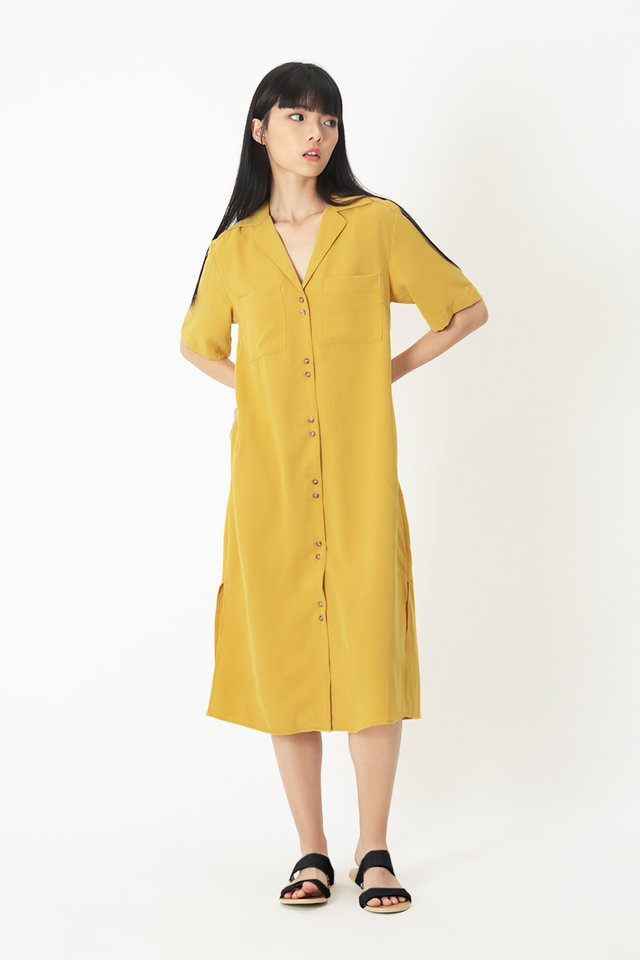 SHAYA CAMP COLLAR SHIRT DRESS IN HONEY