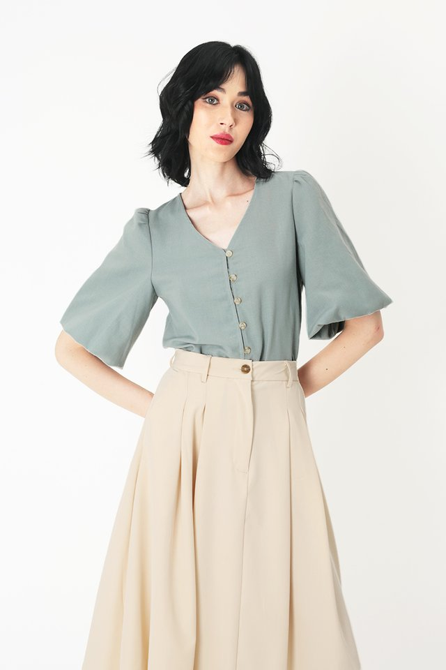 SHERMAINE BUTTON BLOUSE IN DUSK BLUE